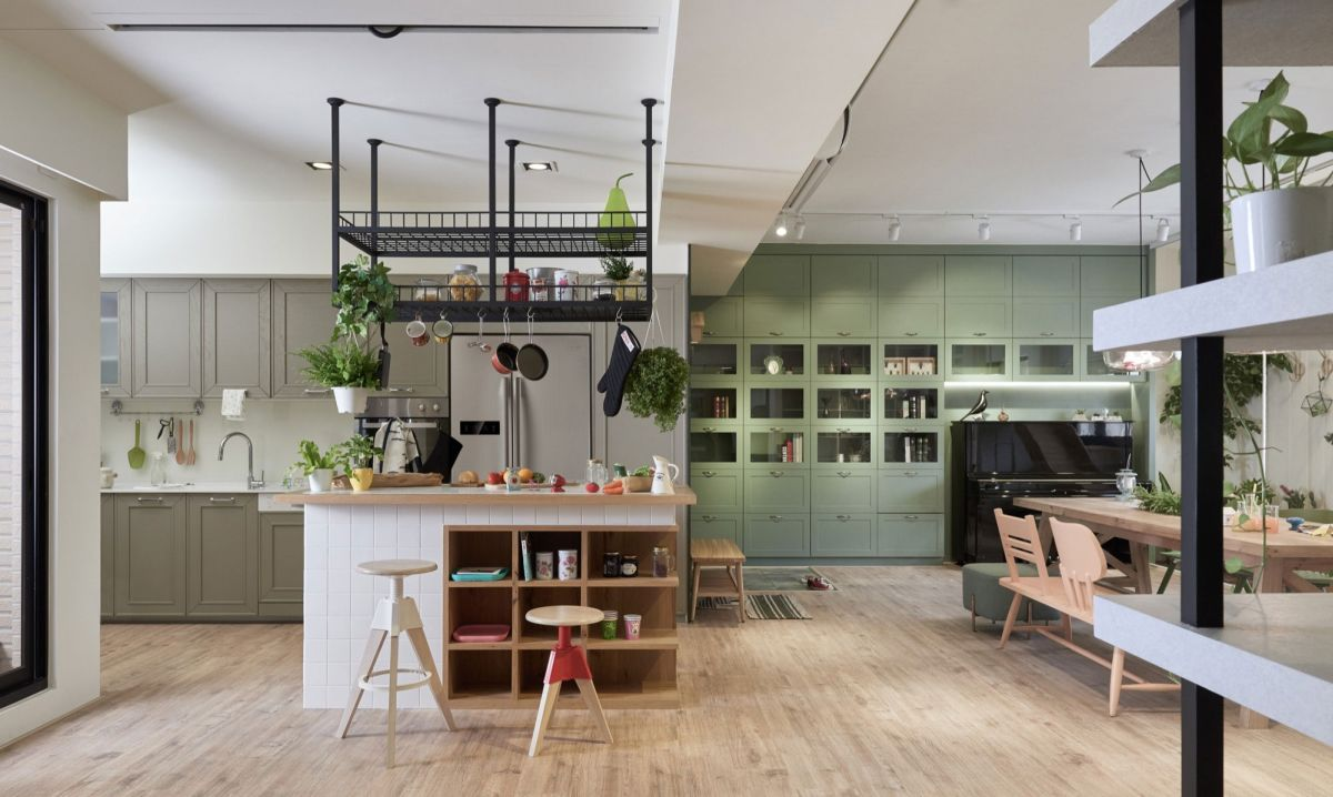 The Family Playground kitchen island and suspended storage