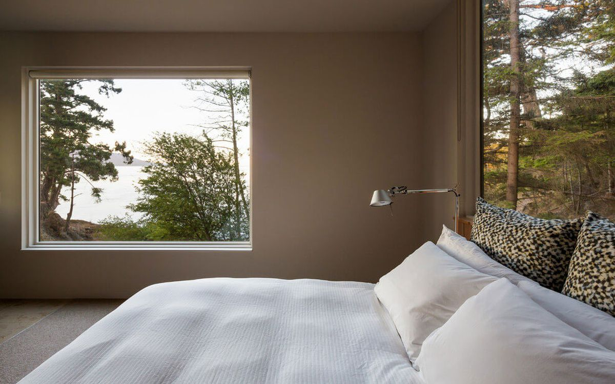 The Lone Madrone retreat bedroom windows