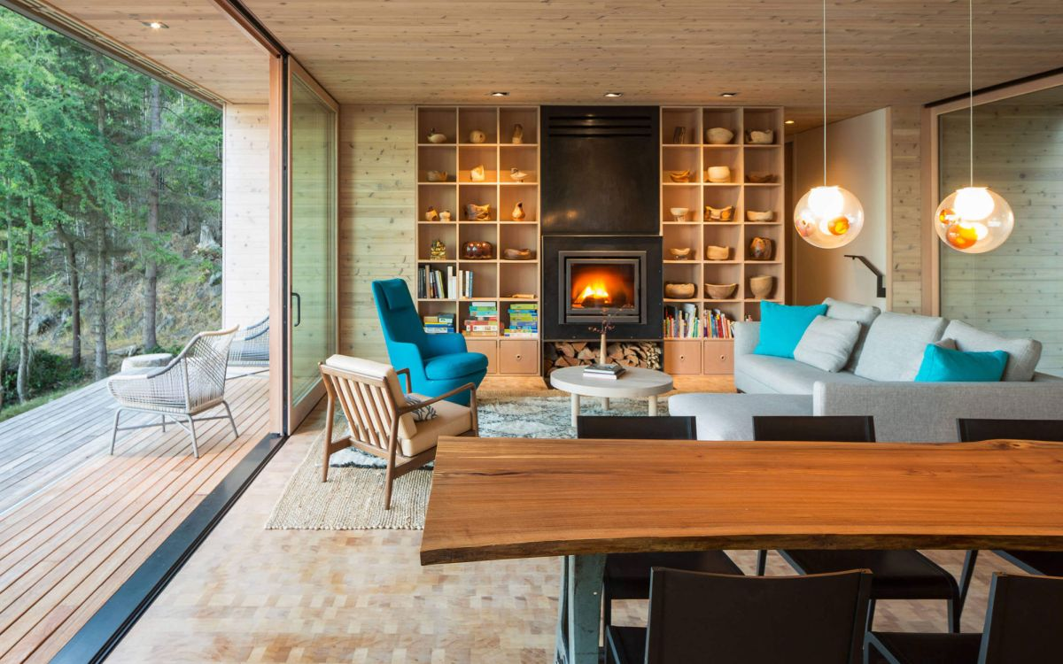 The Lone Madrone retreat living room fireplace