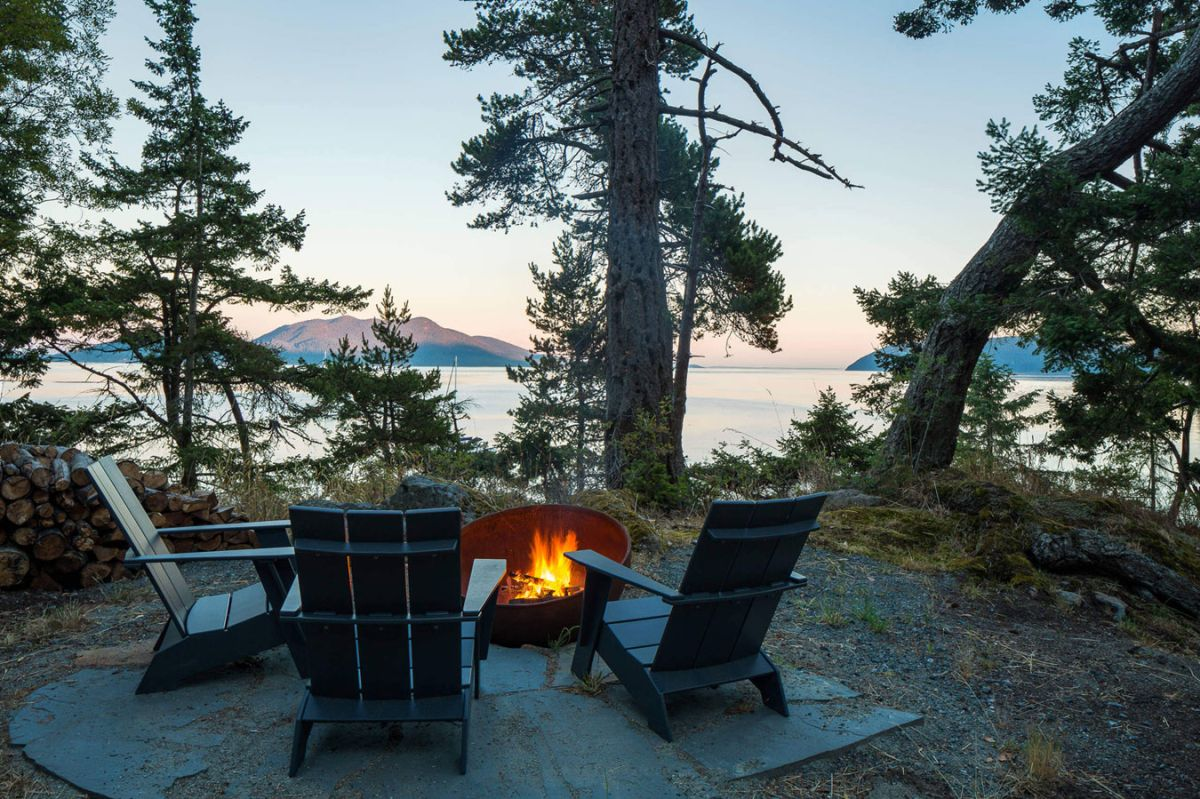 The Lone Madrone retreat outdoor firepit