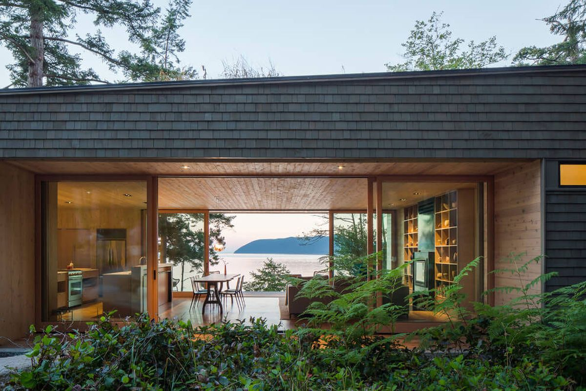 The Lone Madrone retreat social area exposed to views