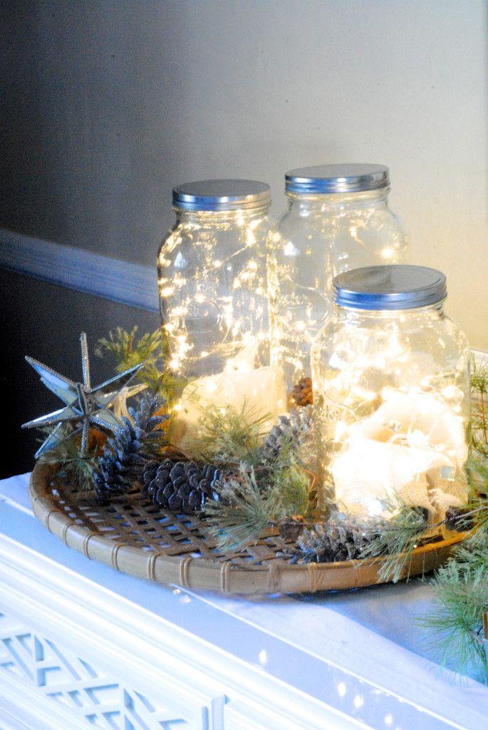 Twinkly lights in jars