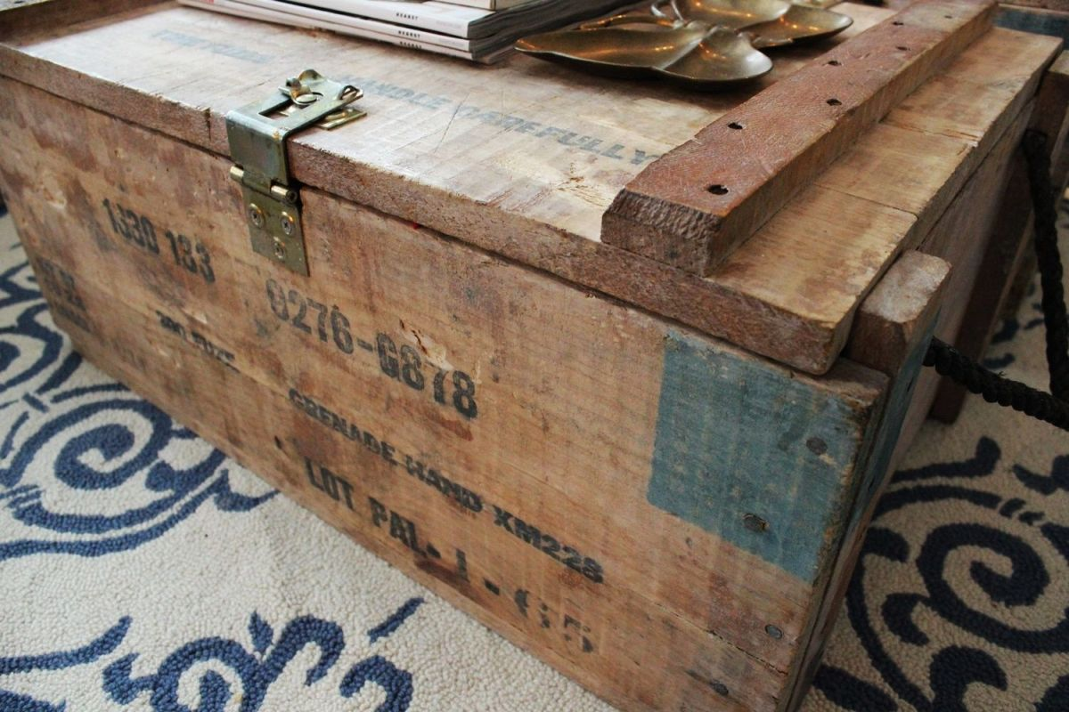 Two vintage grenade boxes turned into coffee table