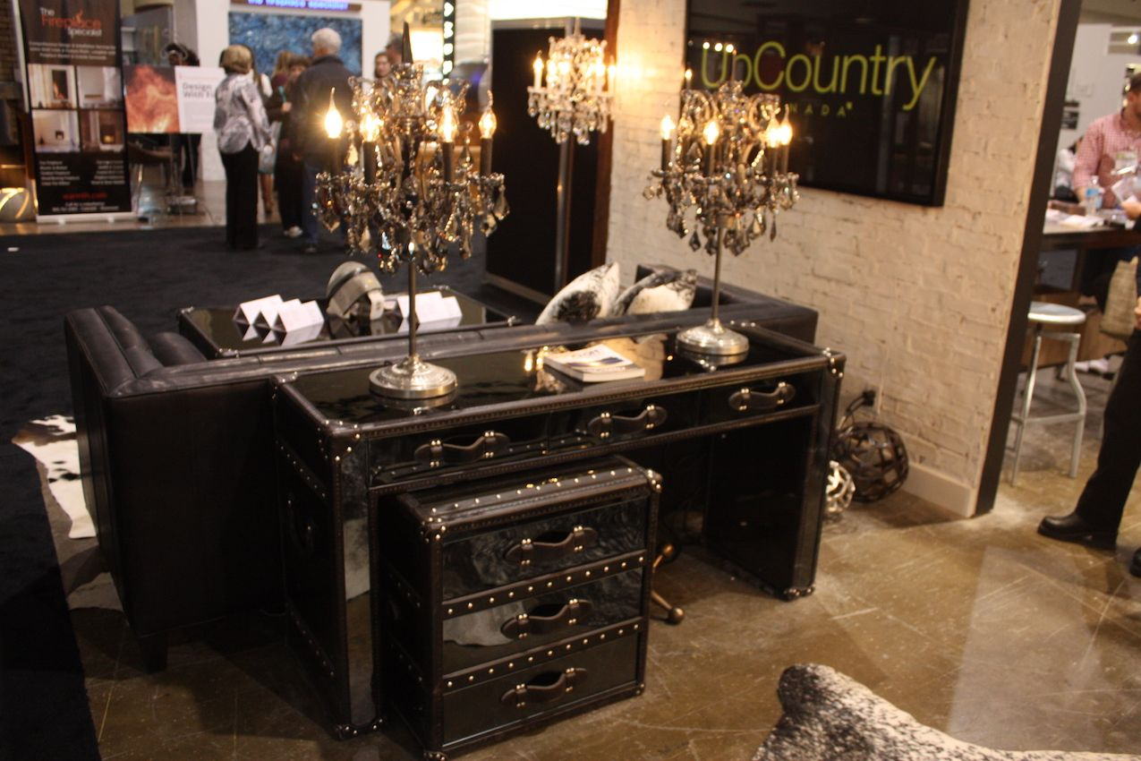 These sophisticated country style pieces were among the furniture offerings from UpCountry. The high gloss desk and trunk-style drawers are perfect with the ornate lamps.