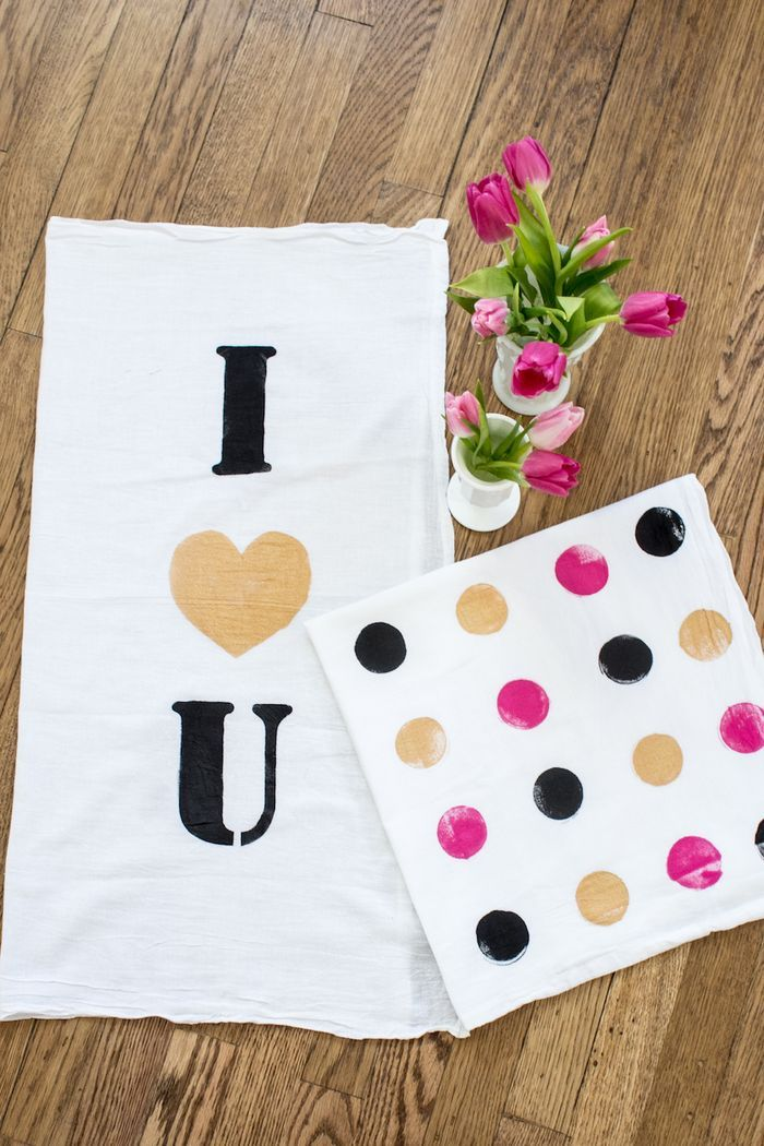 Valentine tea towel