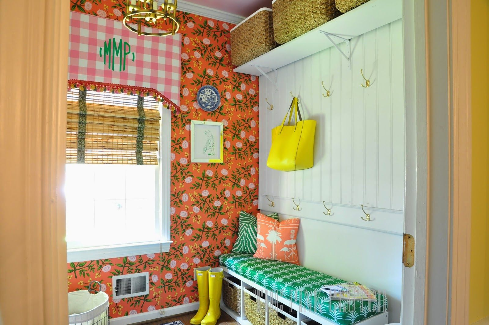Vibrant wallpaper for mudroom
