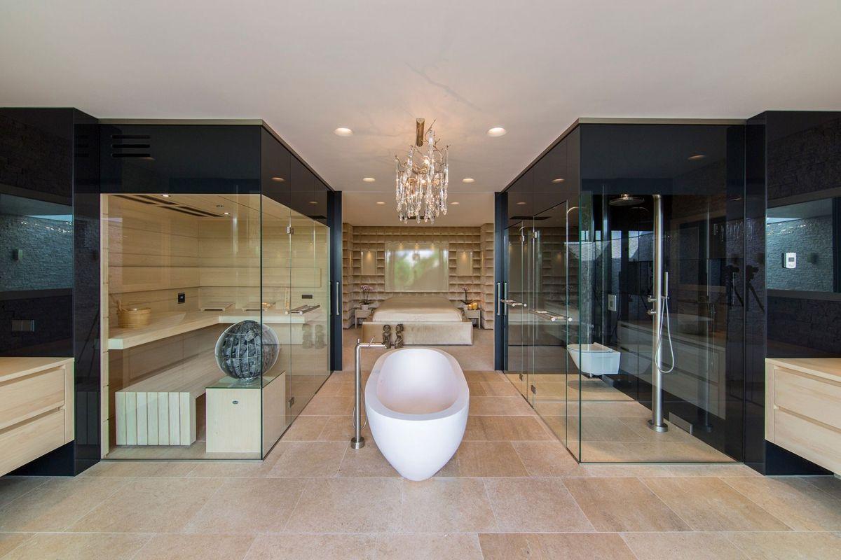 Villa New Water by Waterstudio.NL bathroom tub at center