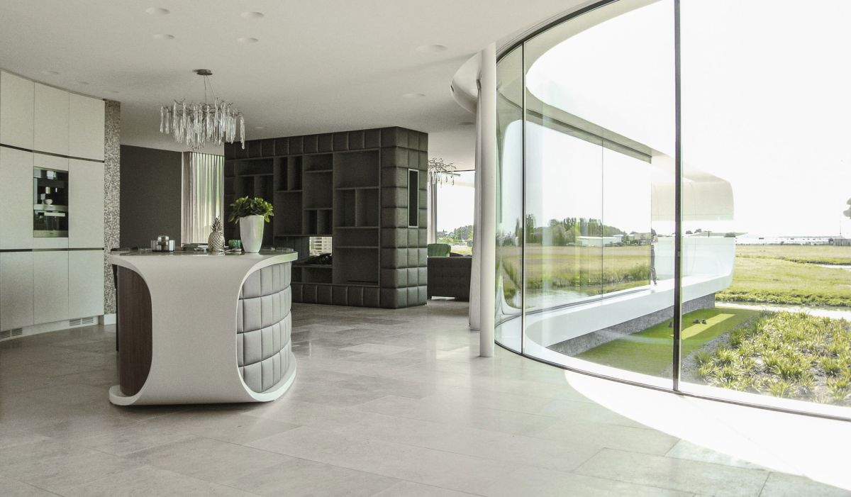Villa New Water by Waterstudio.NL kitchen at the center