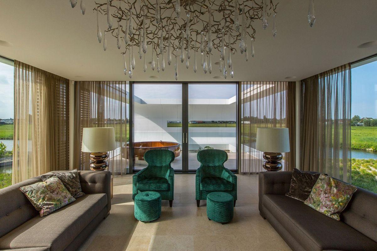 Villa New Water by Waterstudio.NL living room chandelier