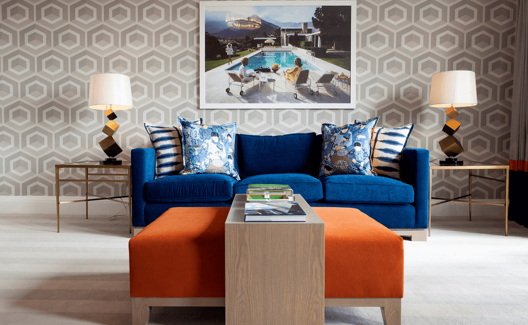 Wall Patterns With Bold Furniture Orange And Blue Part 47