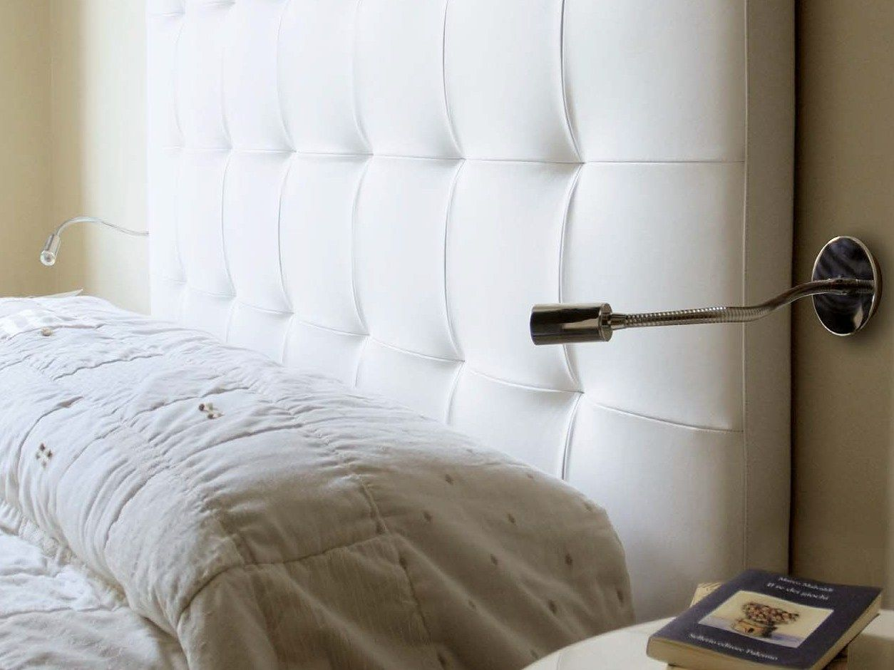 White Headboard With Led Reading Lamp