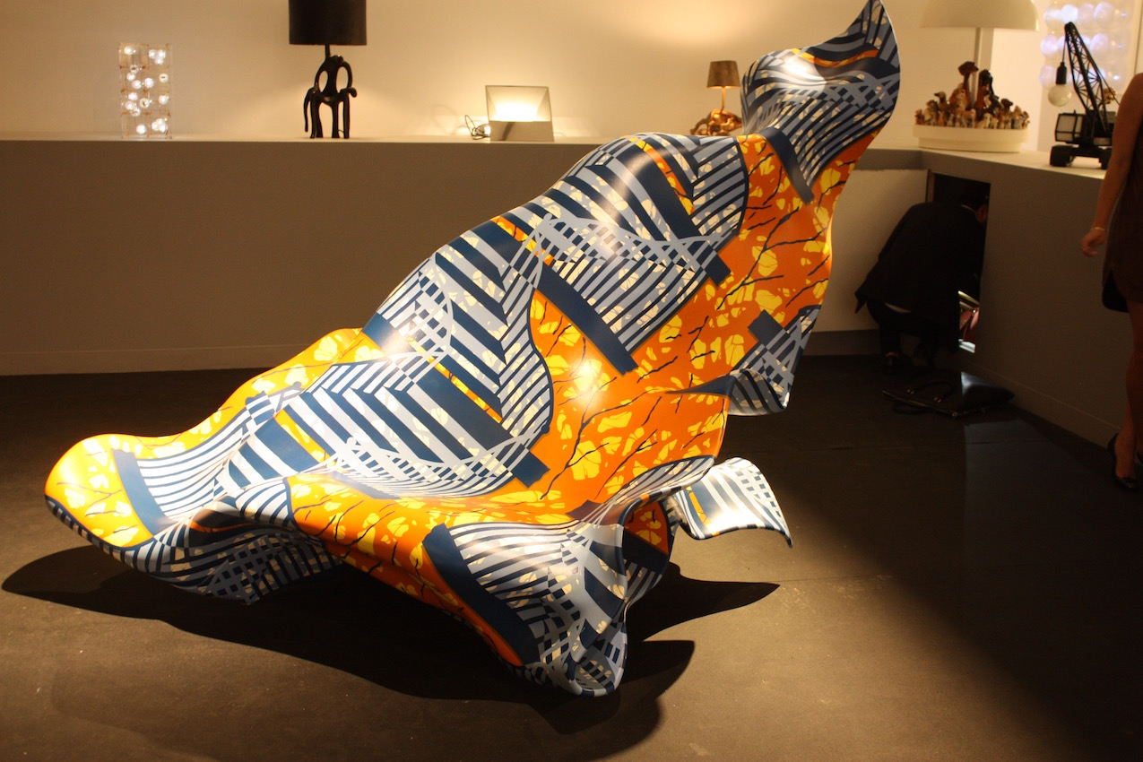 """Yank Shonibare's """"Windy Chair,"""" made of painted aluminum, is a perfect intersection of art and design. This particular piece was presented by the Carpenter's Workshop Gallery at Design Miami/ 2015."""