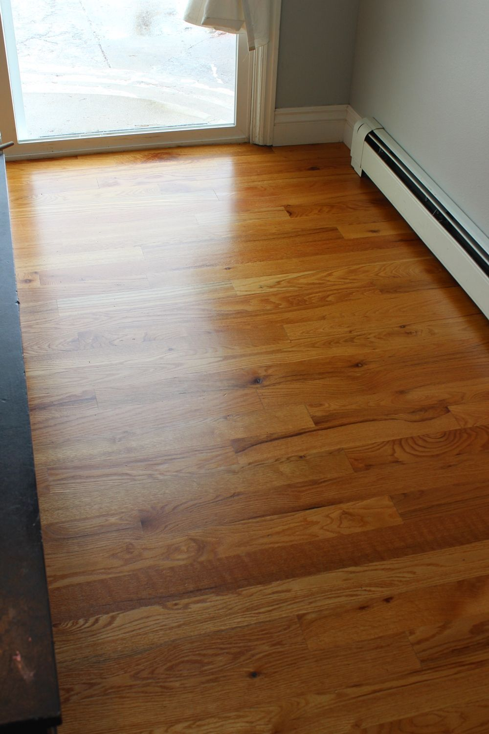 Wood floor cleaned with natural products