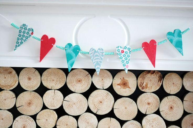 Wood heart banner