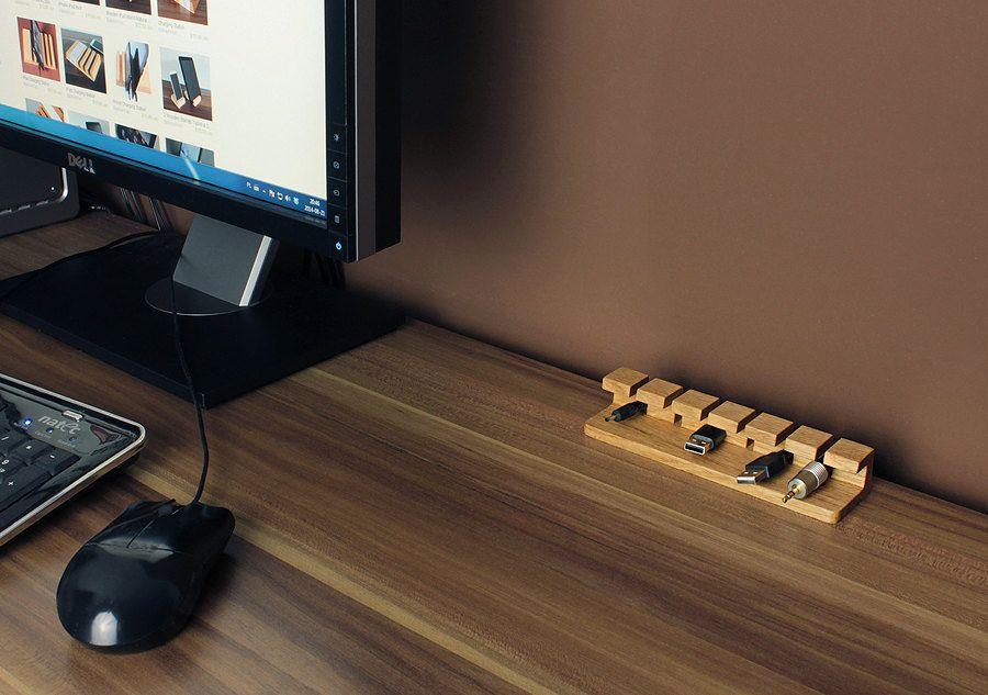 Wooden cable management for desk
