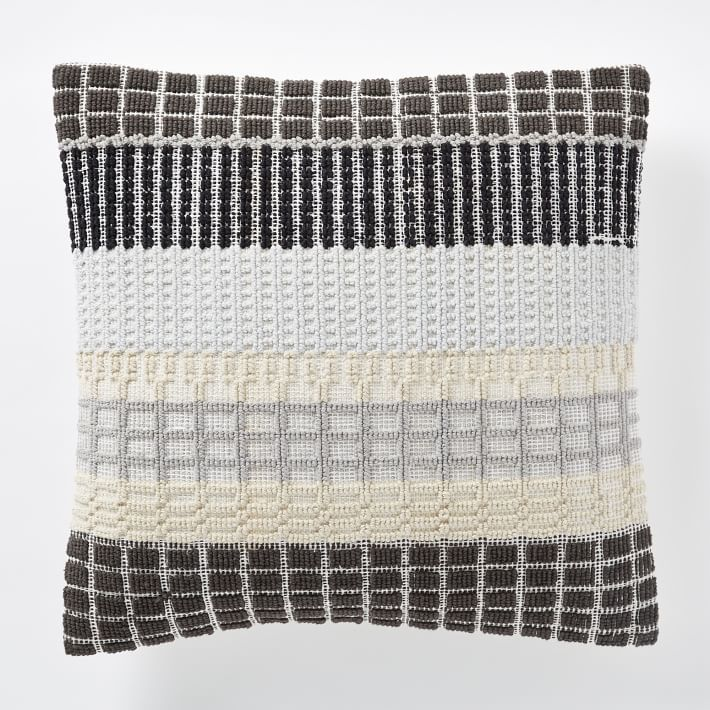 Woven block throw pillow