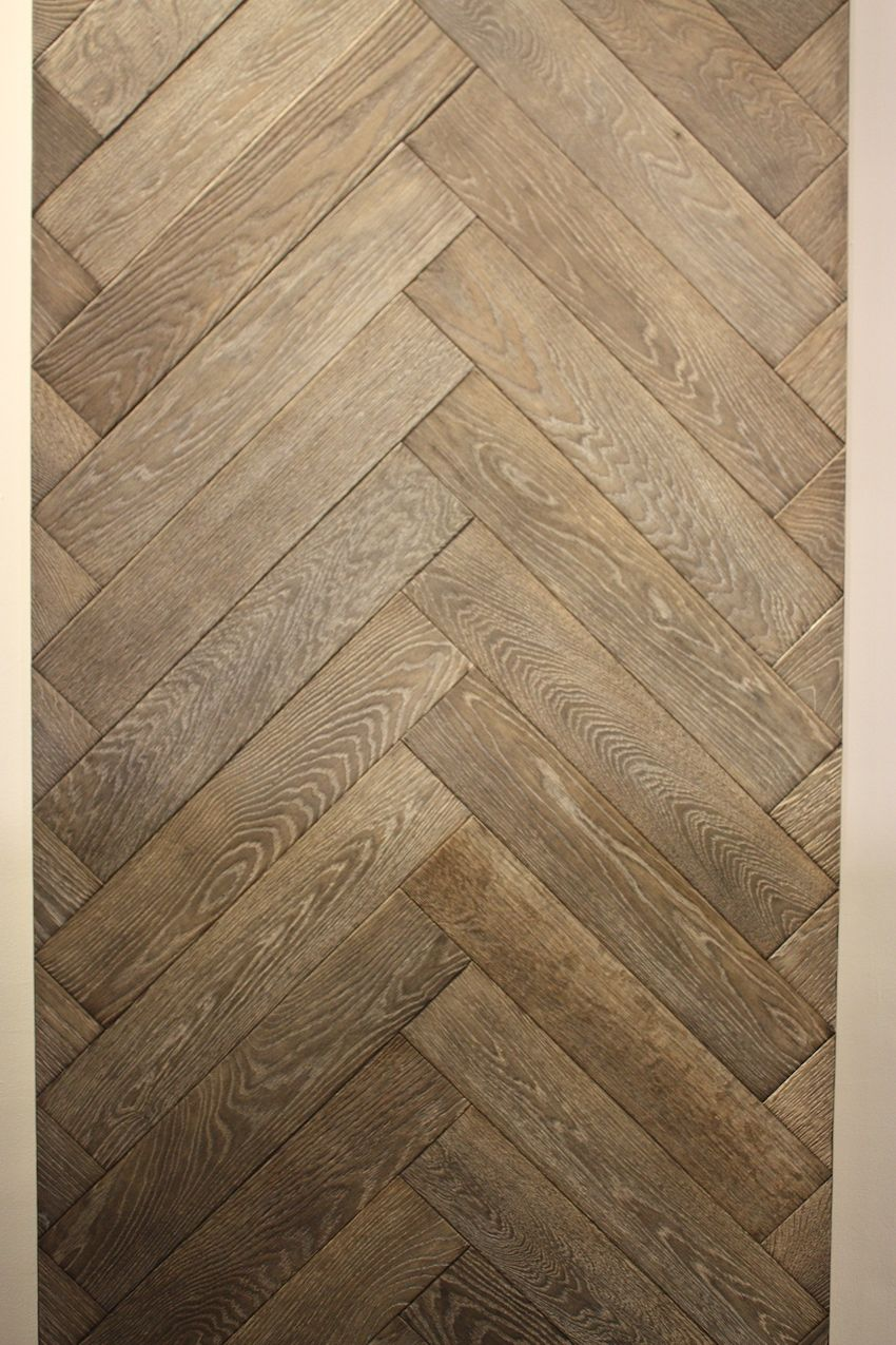 This light colored herringbone design wide plank floor is from Northern Wide Plank.