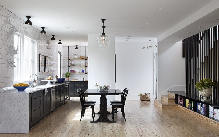 open space black kitchen
