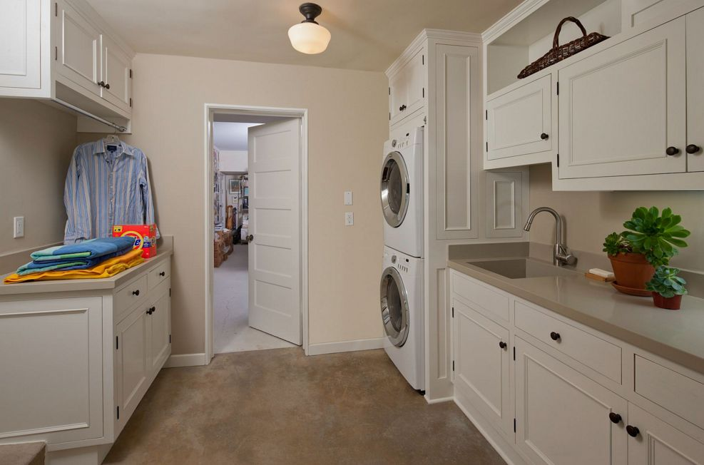 stacked washer and dryer built into your custom furniture