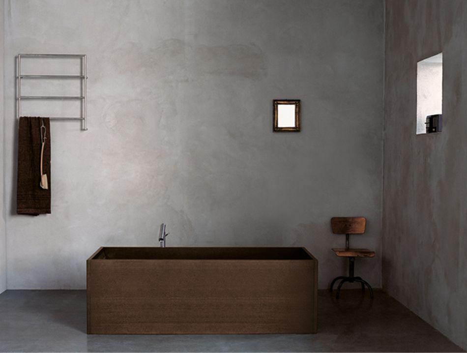 Agape dark wood wooden rectangular bathtub