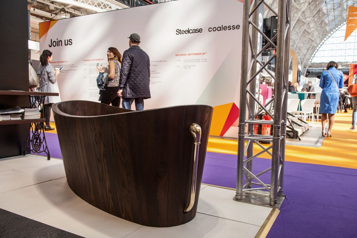 From any angle, it's a beautiful wooden bathtub.
