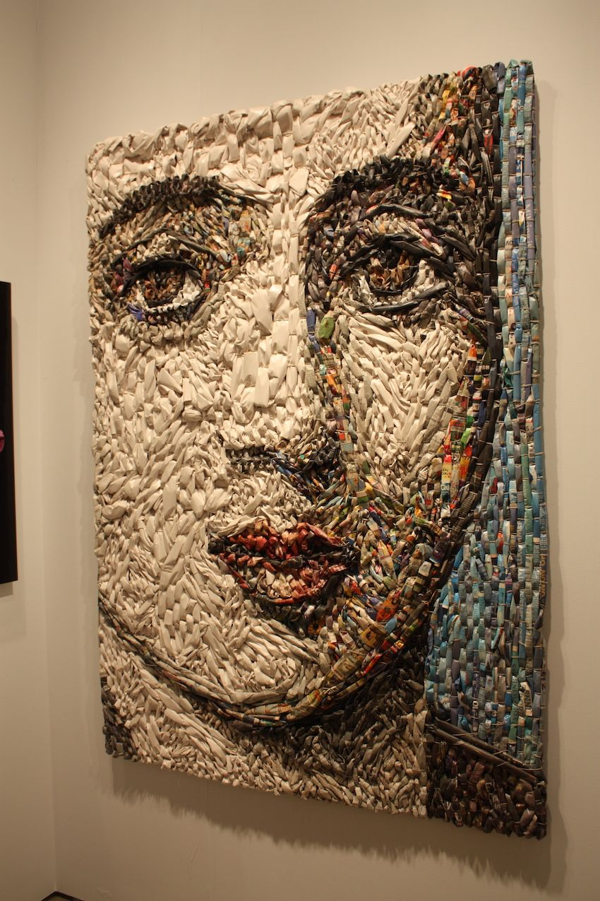 Artist Gugger Petter uses tubes of newspaper to create his large and remarkable pieces. Petter says that when he first moved to California he was inspired by how the sun yellowed a stack of newspapers. From there, he developed this art form.