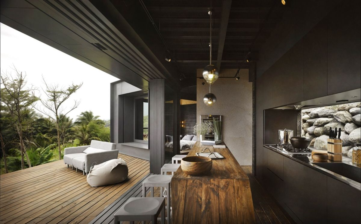 A'tolan house in Taiwan kitchen and terrace