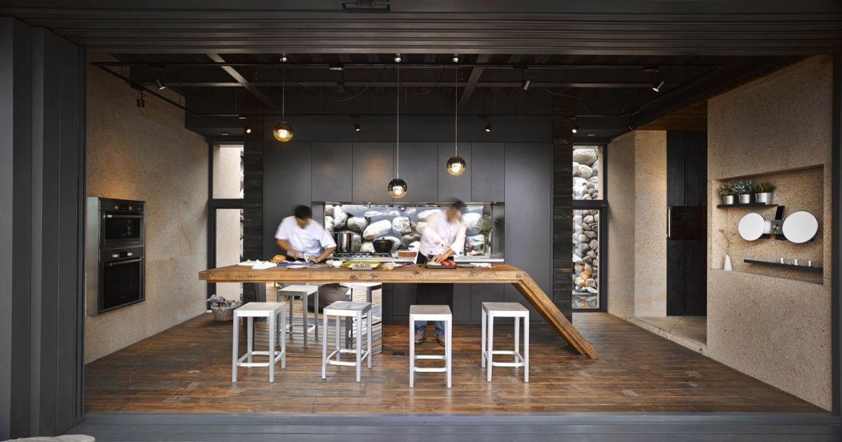 A'tolan house in Taiwan kitchen island on mirrored pedestal