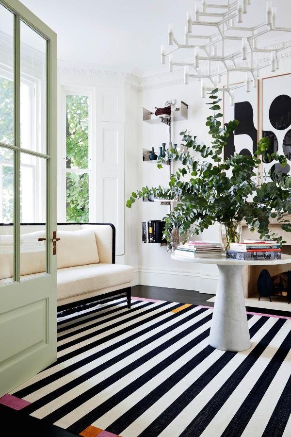 Feature, Notting Hill town house, contemporary, modern, graphic, geometric patterns, family home, bright, interior, sitting area, monochrome floor, rug, marble table, plant