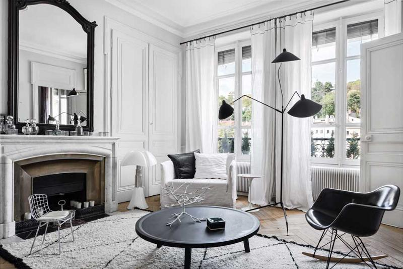 Black and white popular combination for living room