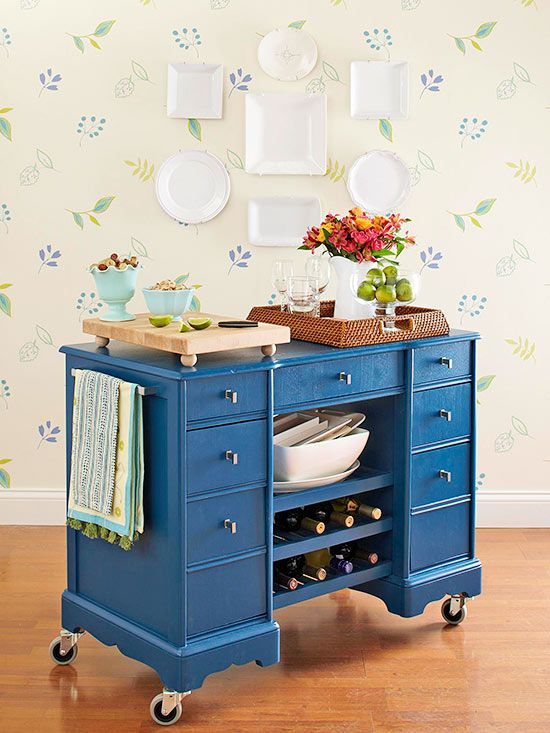 Blue bar cart on wheels
