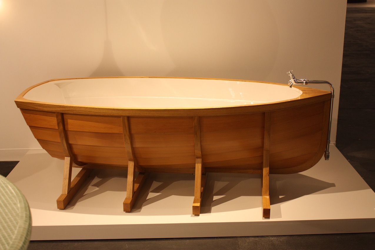 Again, not a traditional stating tub, but still a wooden bathtub, is this boat-shaped art tub sold by Gallerie Kreo. It is designed by Dutch firm Studio Wieki Somers.