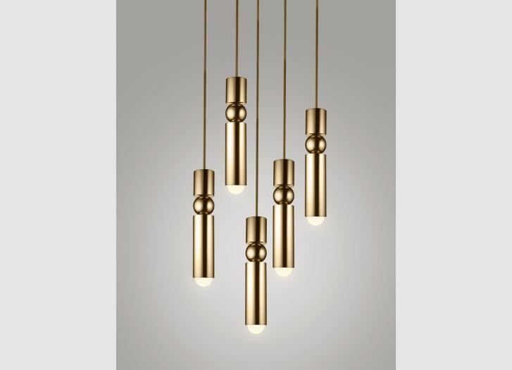 Brass fulcrum chandelier