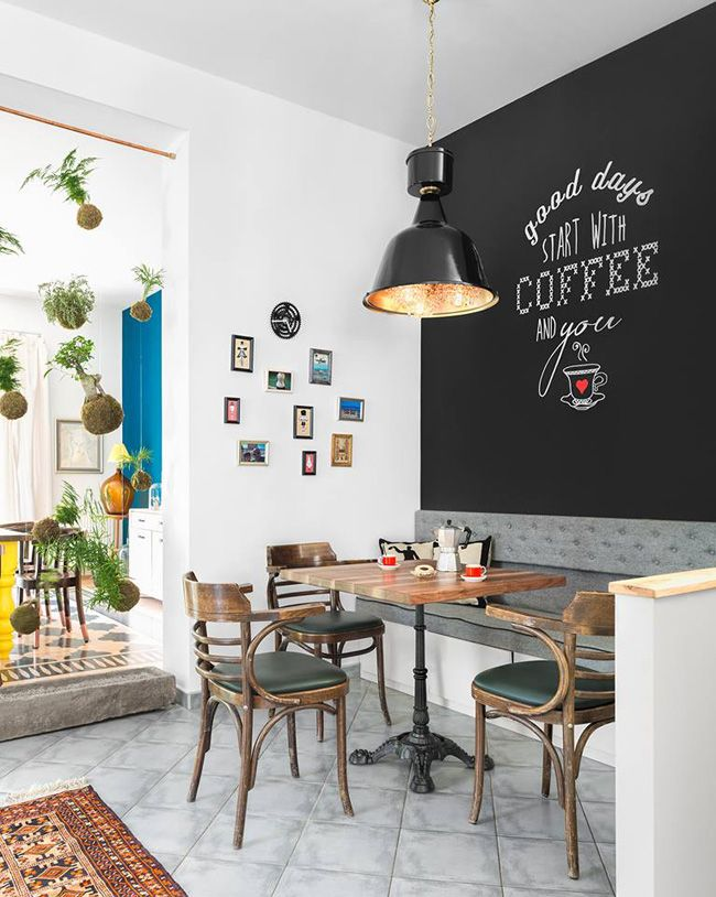 Breakfast nook with a message above