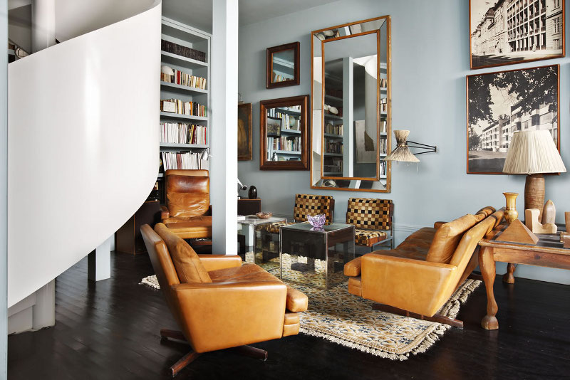 Brown leather armchairs from Lorenzo Castillo