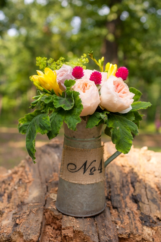 Camping themed wedding style - can flower vase