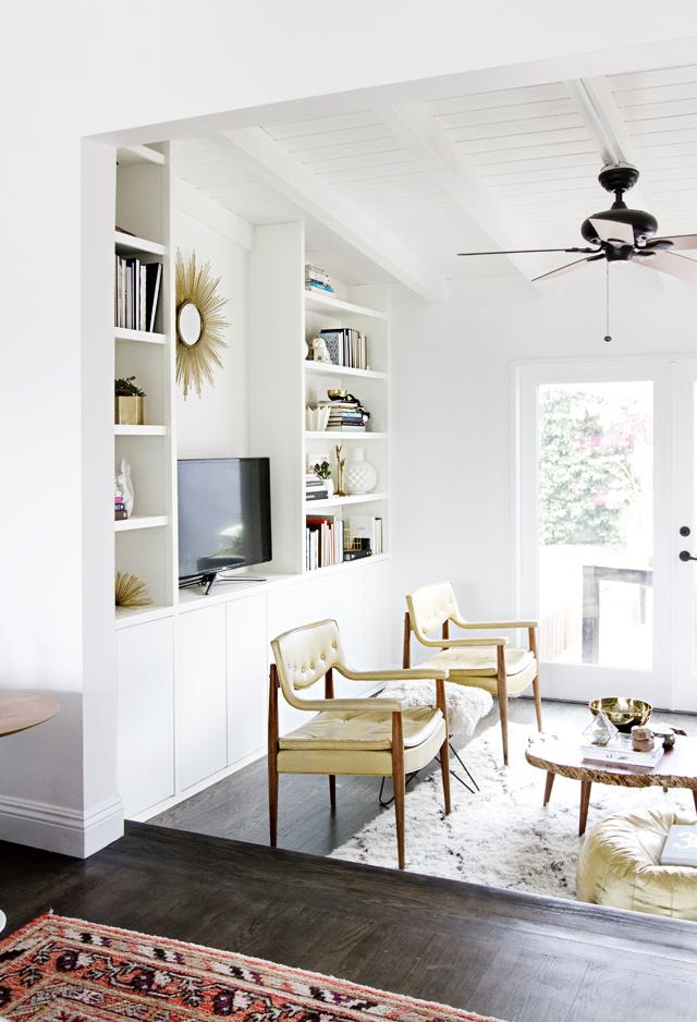 Clean white built in shelves