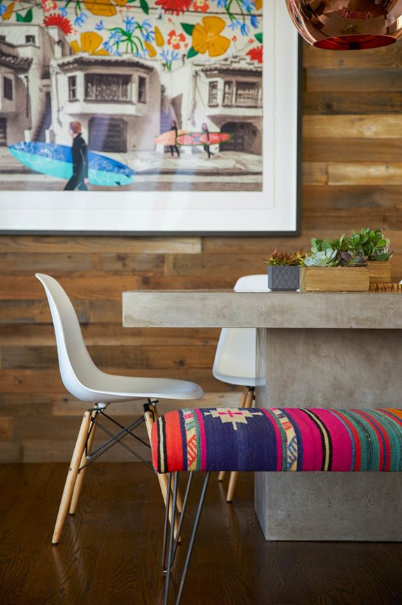 Colors and hairpin bench for dining room