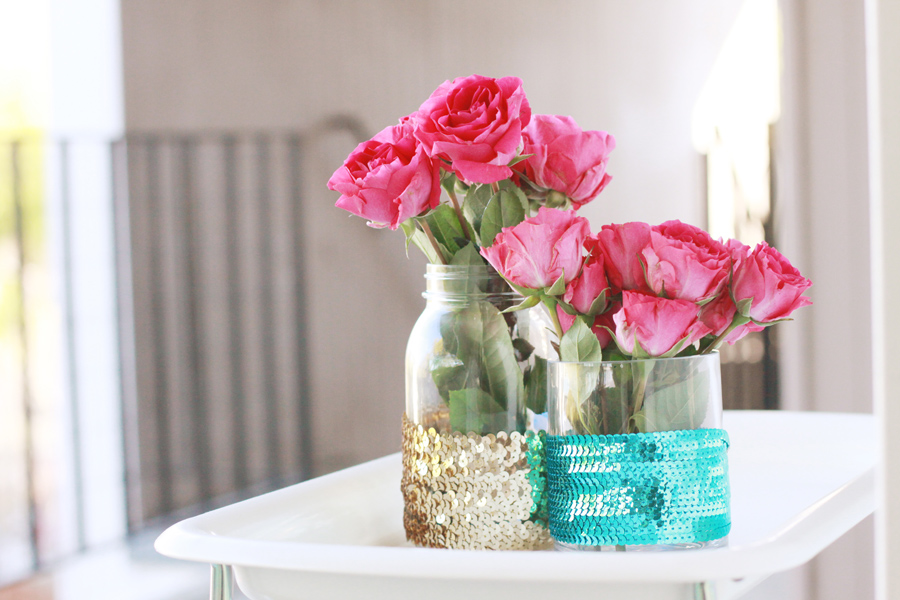 Cool sequined vases