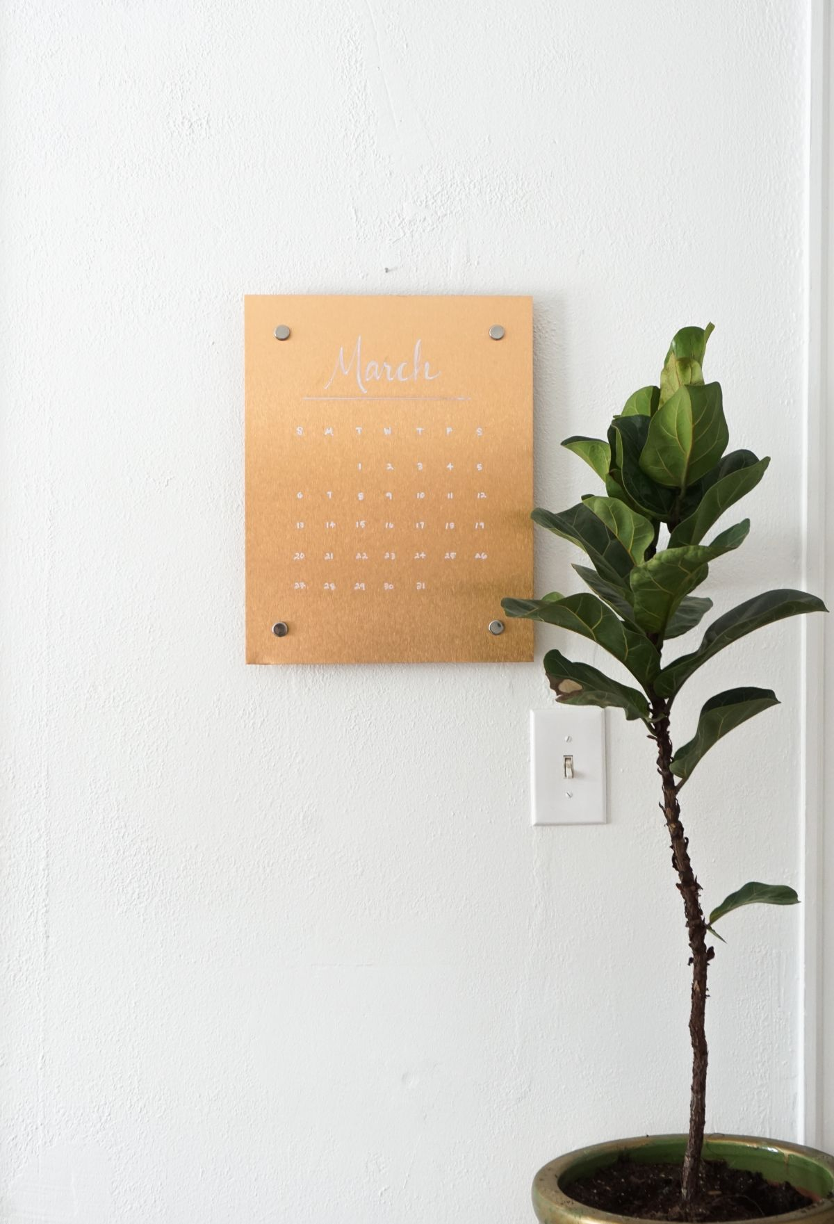 Copper Message Board DIY Calendar