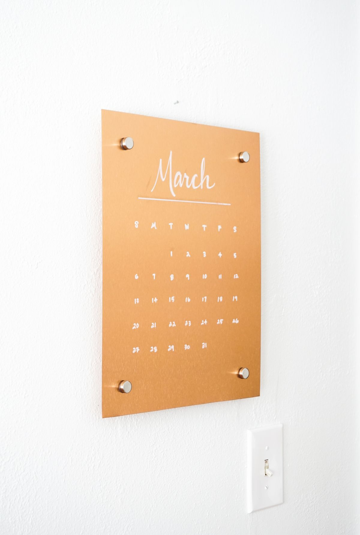 Copper Message Board DIY - calendar