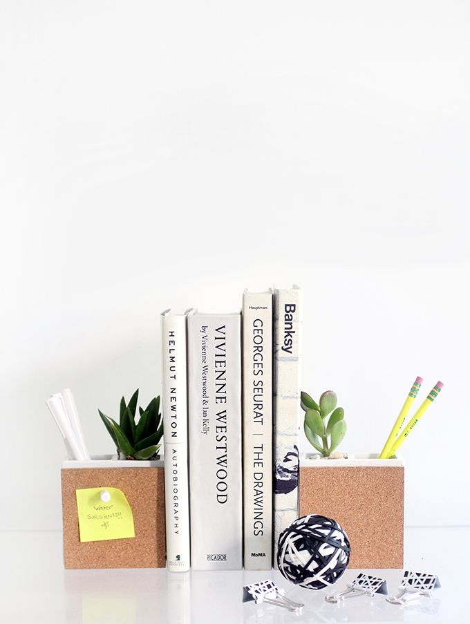 Cork bookends for cubicle pencil organization