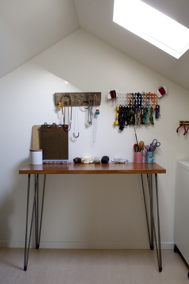 Craft desk area with a hairpin design