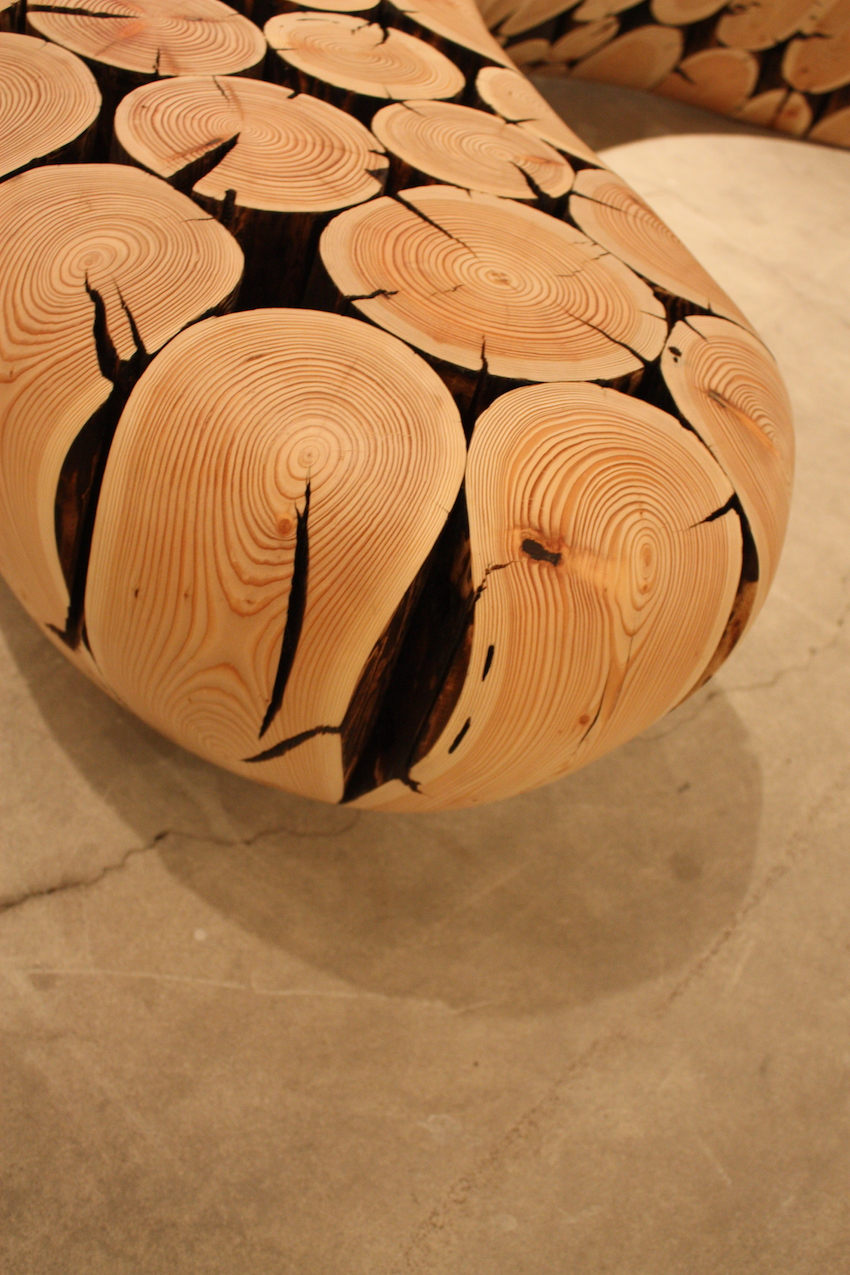 Curved wood bench detail 2