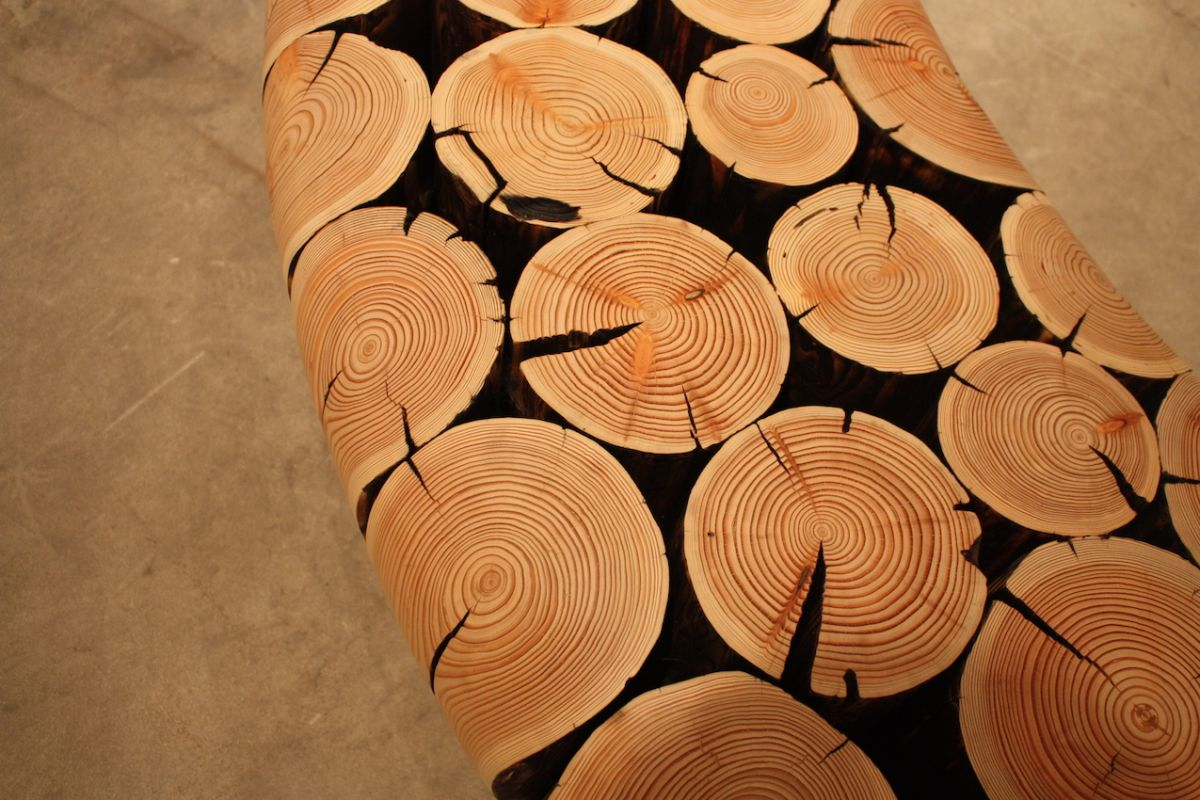 Curved wood bench detail
