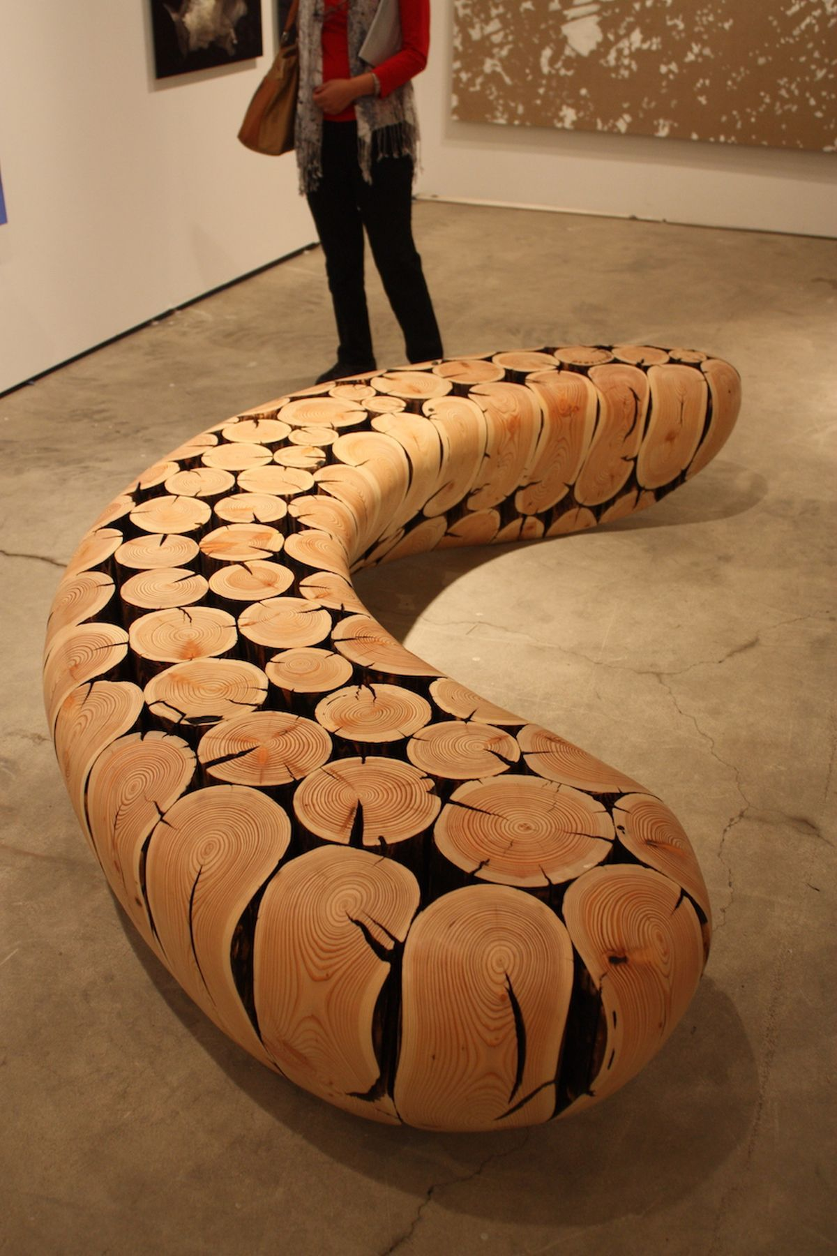 Curved wood slice bench