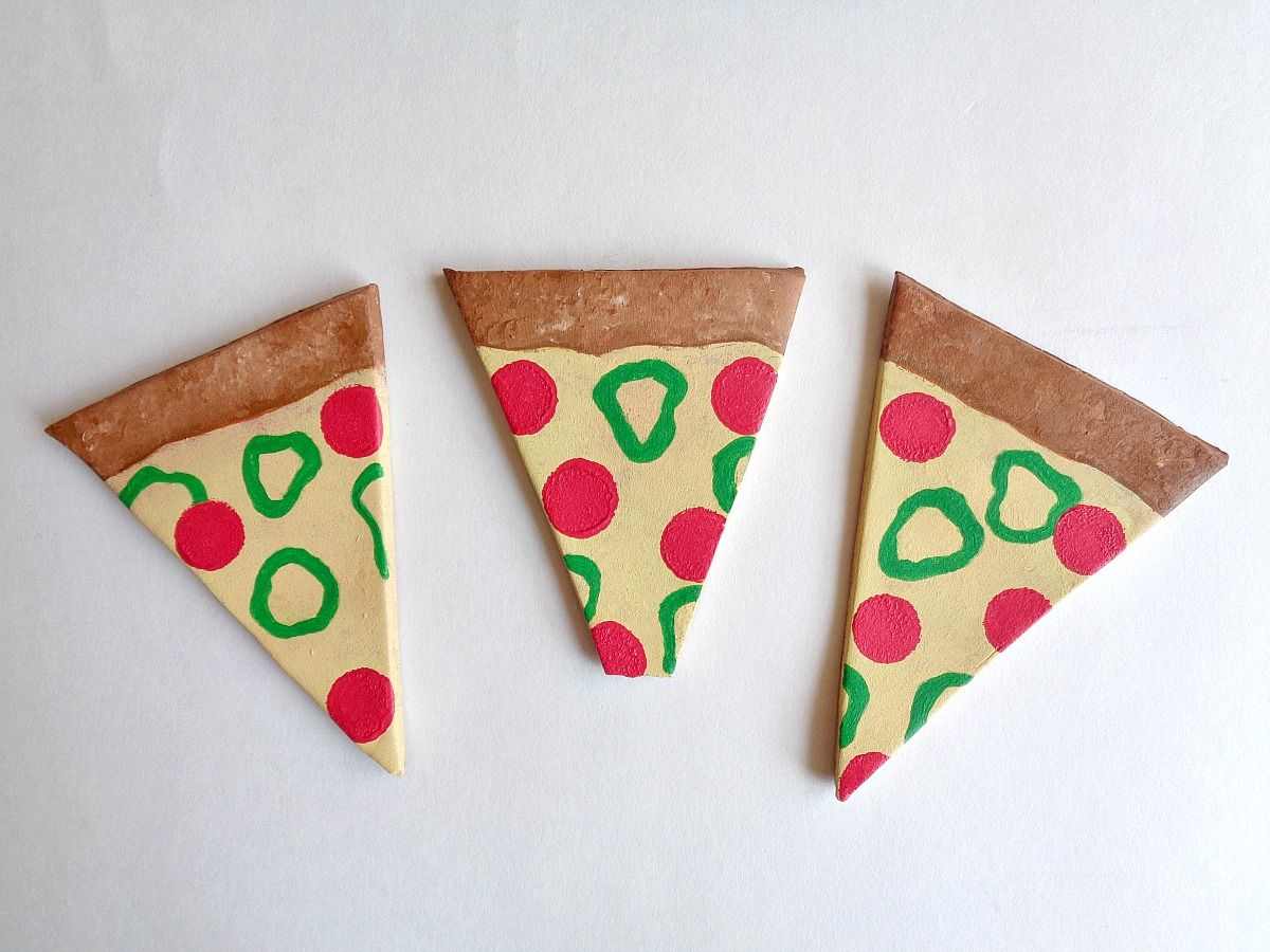 DIY Clay Pizza Slice Coasters - Adorable