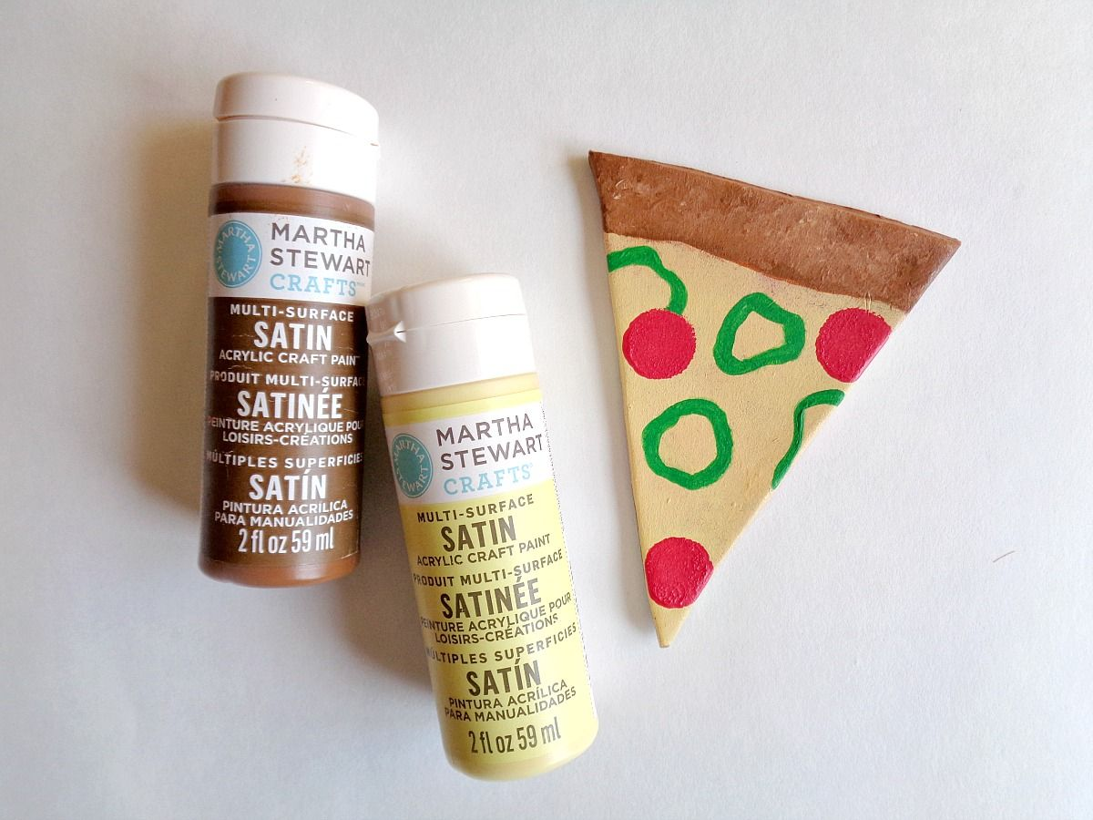 DIY Clay Pizza Slice Coasters - painting process
