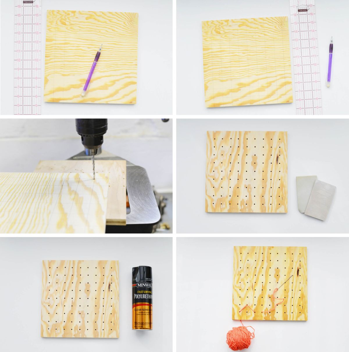 DIY Pegboard String Art - Drill Holes