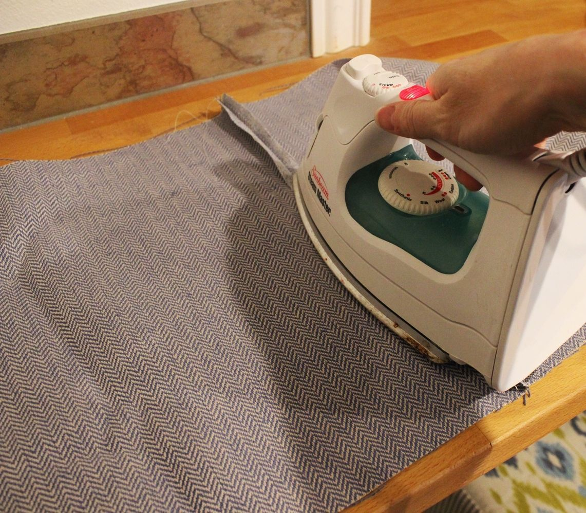 DIY Pouf Ottoman Cube - Press the basted seam open